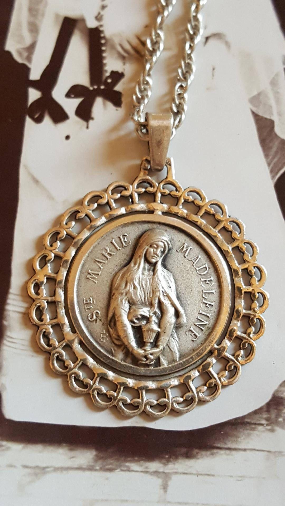 Vintage french silver saint mary magdalene medal necklace catholic vintage french silver saint mary magdalene medal necklace catholic jewelry religious gift christian amulet talisman mozeypictures Choice Image