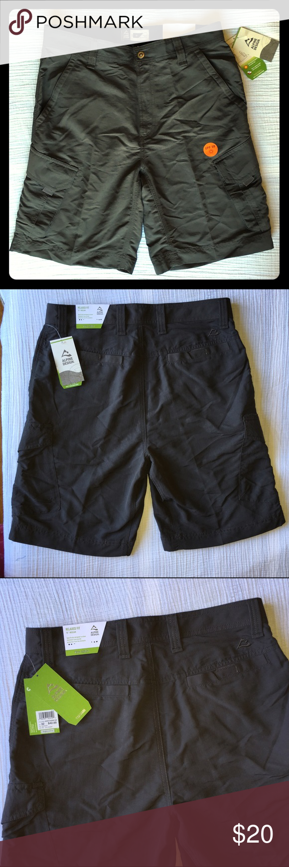 MENS NWT.....Alpine Design Tech Cargo Shorts Grey! Alpine design tech cargo shorts size 32 relaxed fit charcoal gray 10 inch inseam. Upf 50 water repellent  fabric keeps you dry. zippered side security pocket and reinforce seems. Alpine Design Shorts Cargos