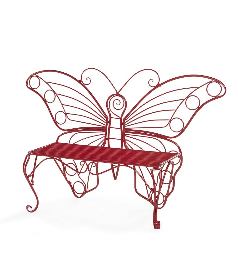 Sale Red Metal Butterfly Garden Bench Outdoor Benches Metal