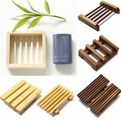 Handmade Wooden Bathroom Toilet Shower Draining Soap Holder Dish Rack Storage