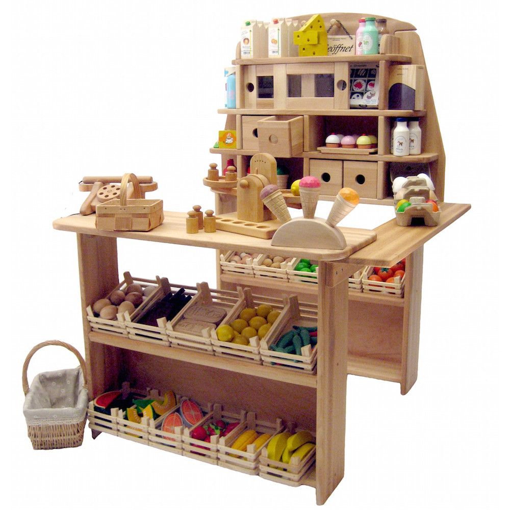 Wooden Play Grocery Store Market Stand Wooden play