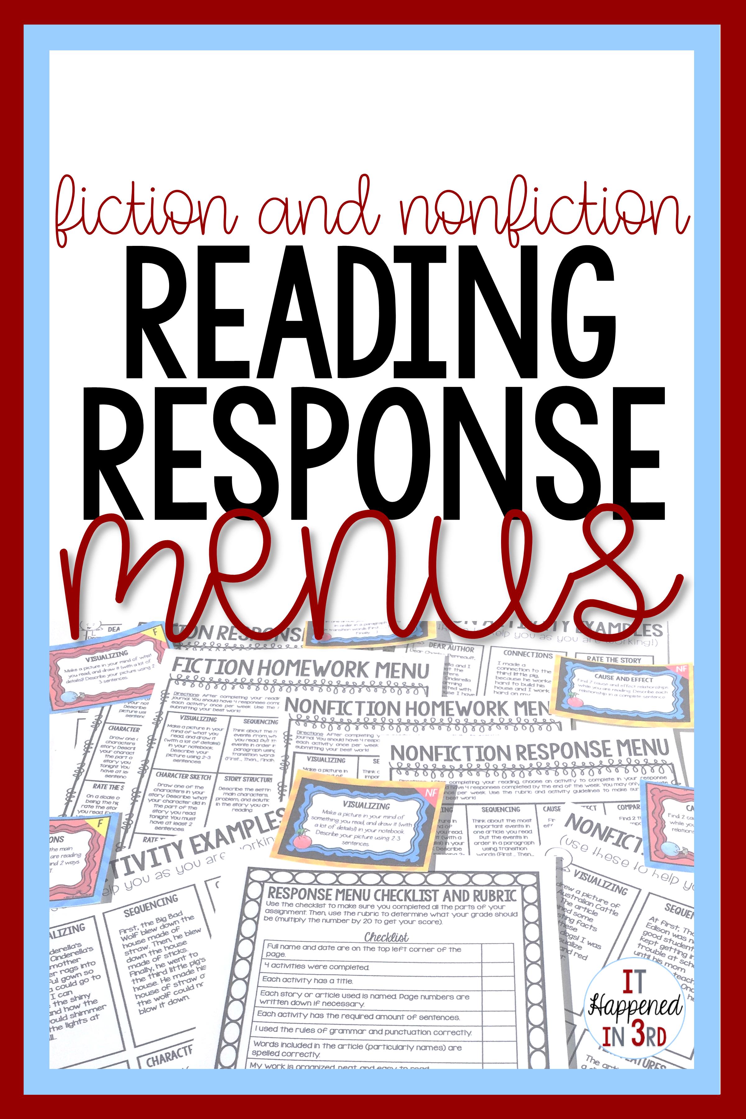 editable fiction and nonfiction reading response menus it happened