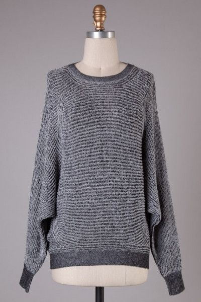 All Bundled Up Two Tone Dolman Sleeve Sweater - Gray