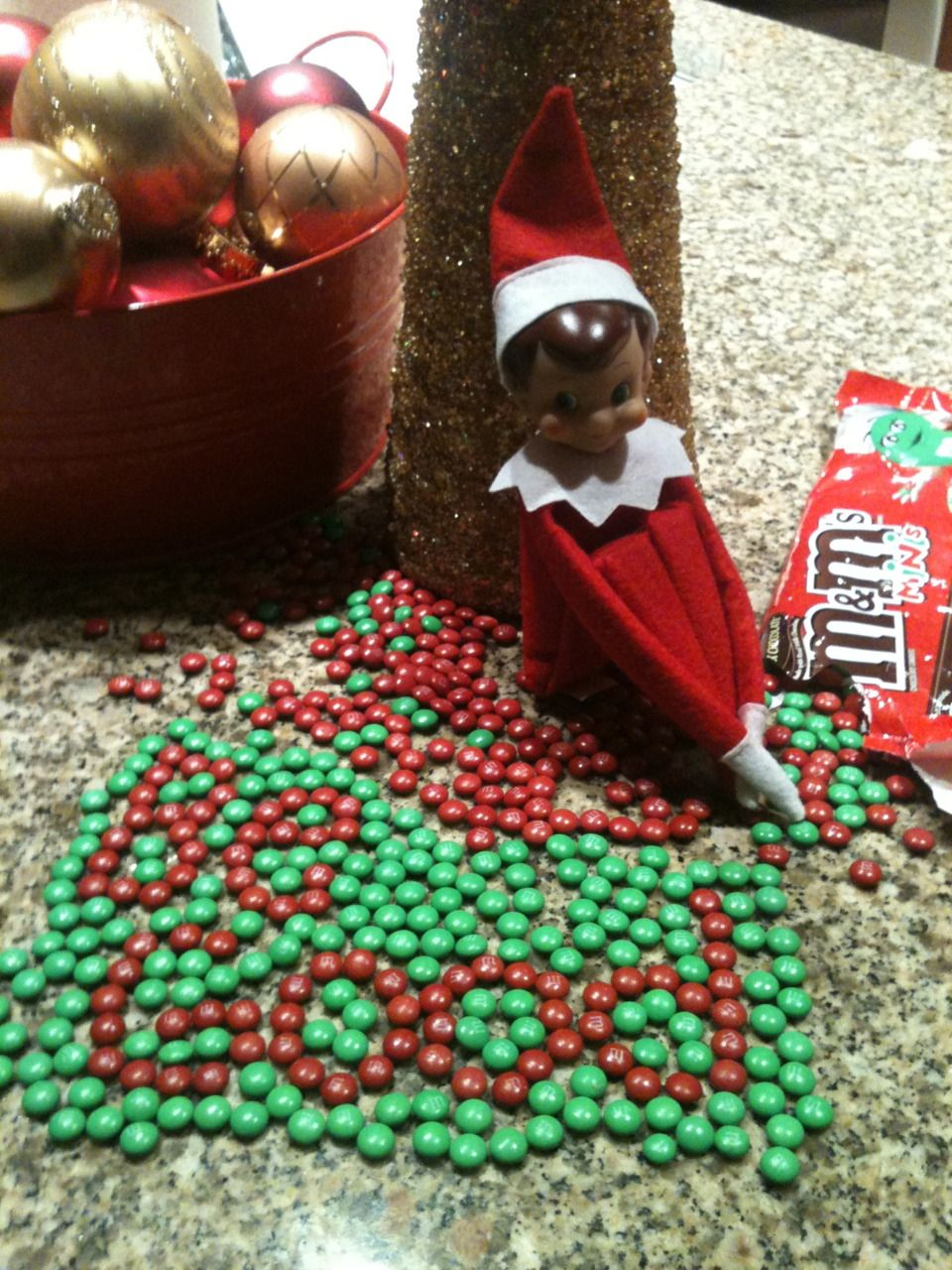 Elf on the Shelf Leaves Message with M  Kids loved this one! Took a little time, but worth it!