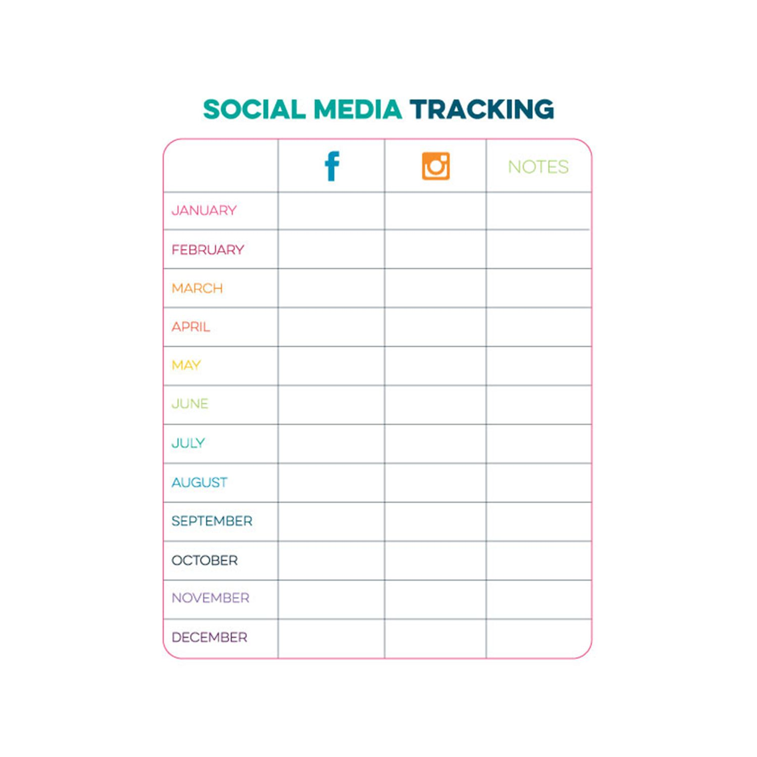 Pin By Limelife Planners Customized On Free Printables Social Media Tracker Planner Printables Free Blog Social Media