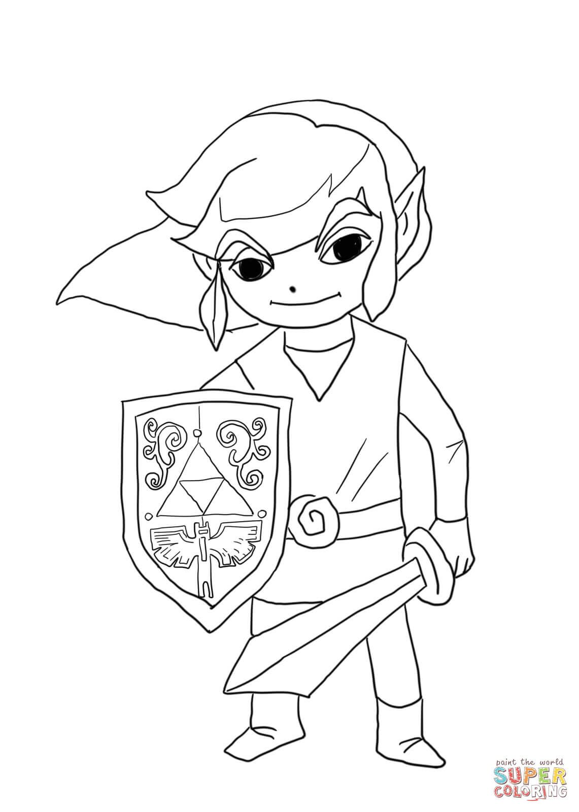 Toon Link From Legend Of Zelda Wind Waker Coloring Page Free