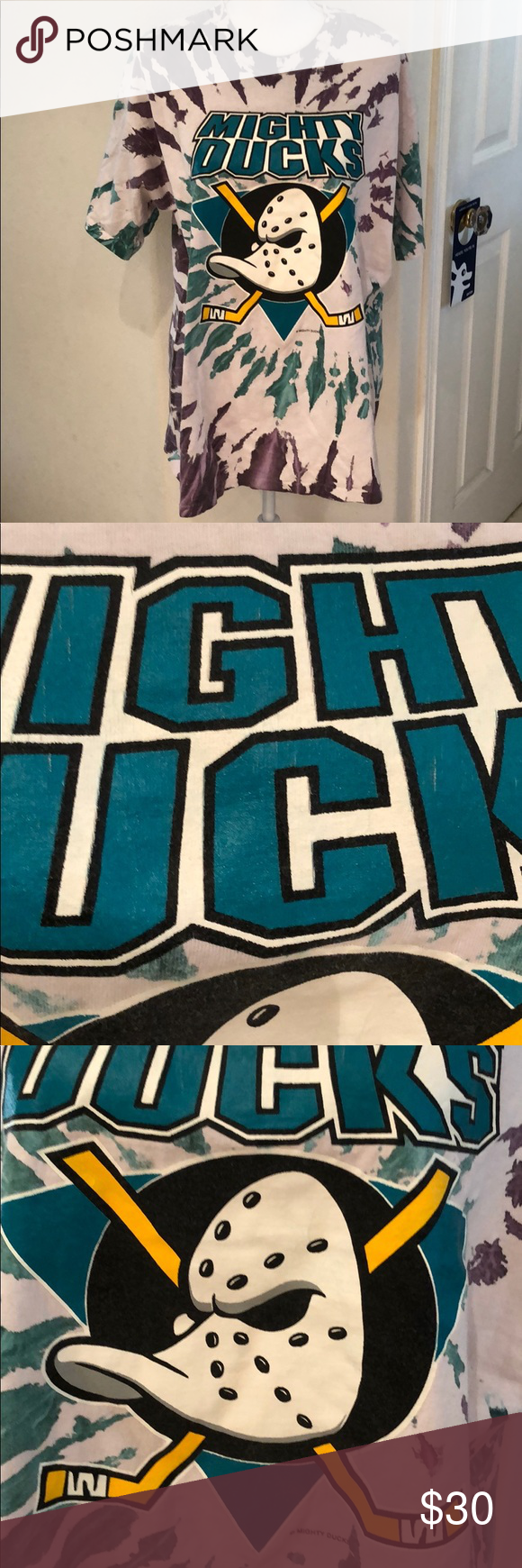 Mighty Ducks Hockey Tie Dye T-Shirt. Sz Men's XL! Rare! Vintage Mighty Ducks of Anaheim Ice Hockey Tie Dye T-Shirt. Sz Men's XL! Gently pre-loved. Slight cracking on graphics (see pics). 100% Cotton. Teal and purple tie dye with a sort of faded look. Perfect for the Ducks fan in your life! Mighty Ducks Shirts Tees - Short Sleeve