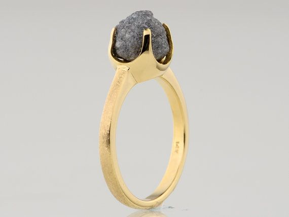 3.38 carat Rounded Raw Rough Diamond 18K Prong Solid 14K Gold Womens Ring
