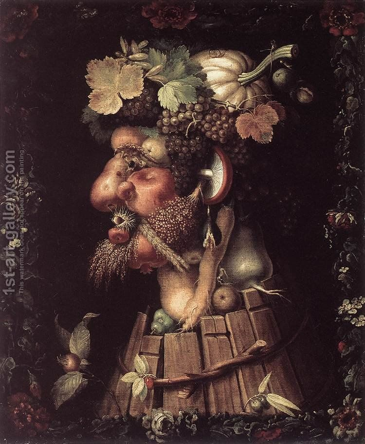 Autumn 1573 Painting By Giuseppe Arcimboldo Reproduction 1st Art Gallery Giuseppe Arcimboldo Vegetable Portrait Canvas Art Prints