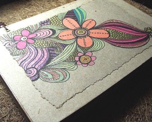 Libreta 1 2 carta de papel y cart n kraft portada con dise o pintado a mano promocionales - Papel pintado a mano ...