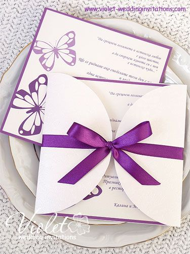 Butterflies Wedding Invitation Violet Handmade Wedding