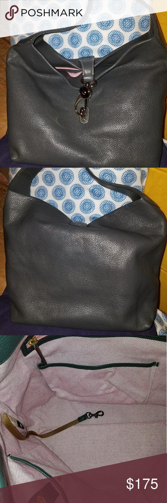 Dooney And Bourke Logo Lock Hobo Charcoal Gray Charcoal Gray Excellent Like New Condition Pebble Leather Logo Lock Hobo.Smoke Free Home Dooney & Bourke Bags Hobos