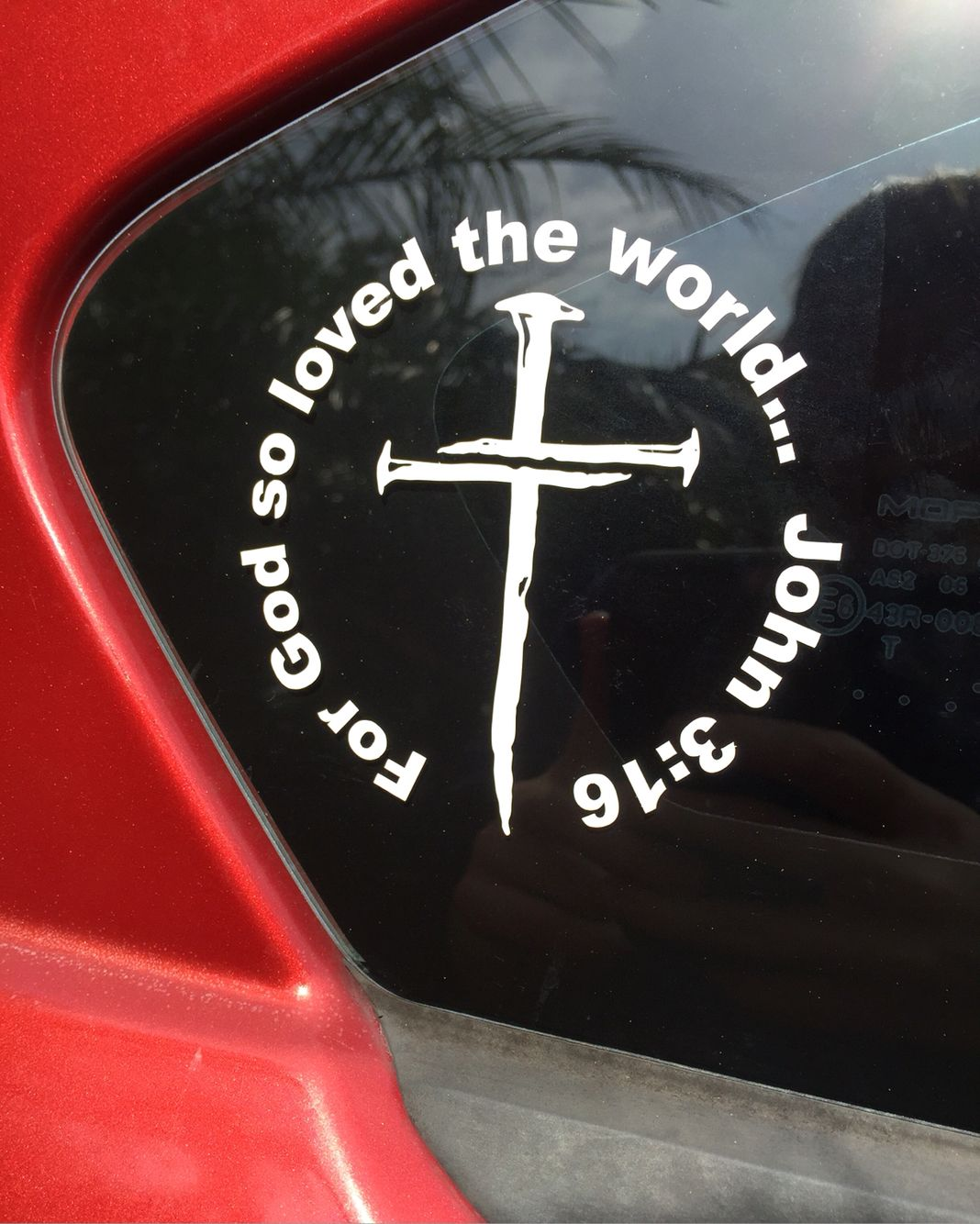 Vinyl Car Decal John 3 16 Nail Cross Car Sticker Design Christian Car Decals Car Decals Vinyl [ 1334 x 1068 Pixel ]