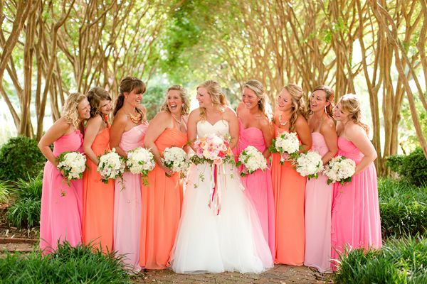 Bright Coloured Bridesmaid Dresses: Pink And Orange Wedding By Katelyn James