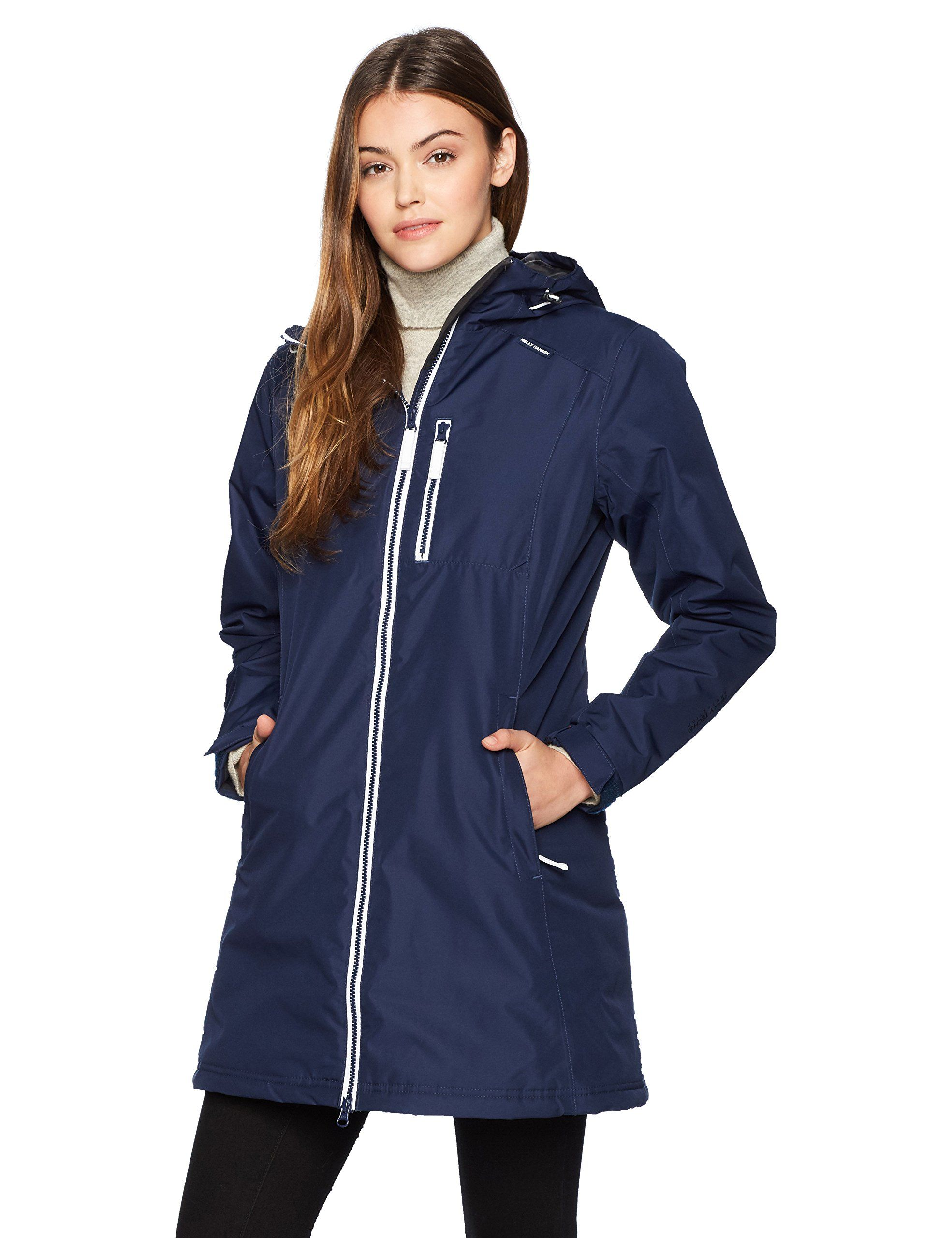 69a8ae53ae Helly Hansen Women's Long Belfast Winter Jacket, Evening Blue, Small. Helly  tech protection