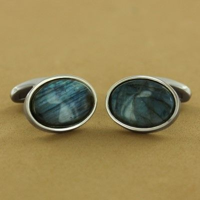 Stainless Steel Labradorite Oval Cuff Links - Fire & Ice