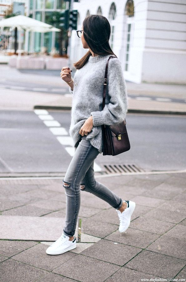 fuzzy grey sweater, burgundy bag, ripped knee skinny jeans and Adidas  sneakers  style  fashion e5db2b07c4