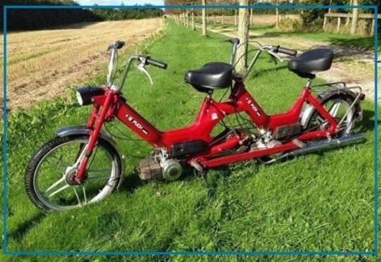 Bisher kannte ich nur Tandem Fahrräder… …hier ein Tandem Mofa