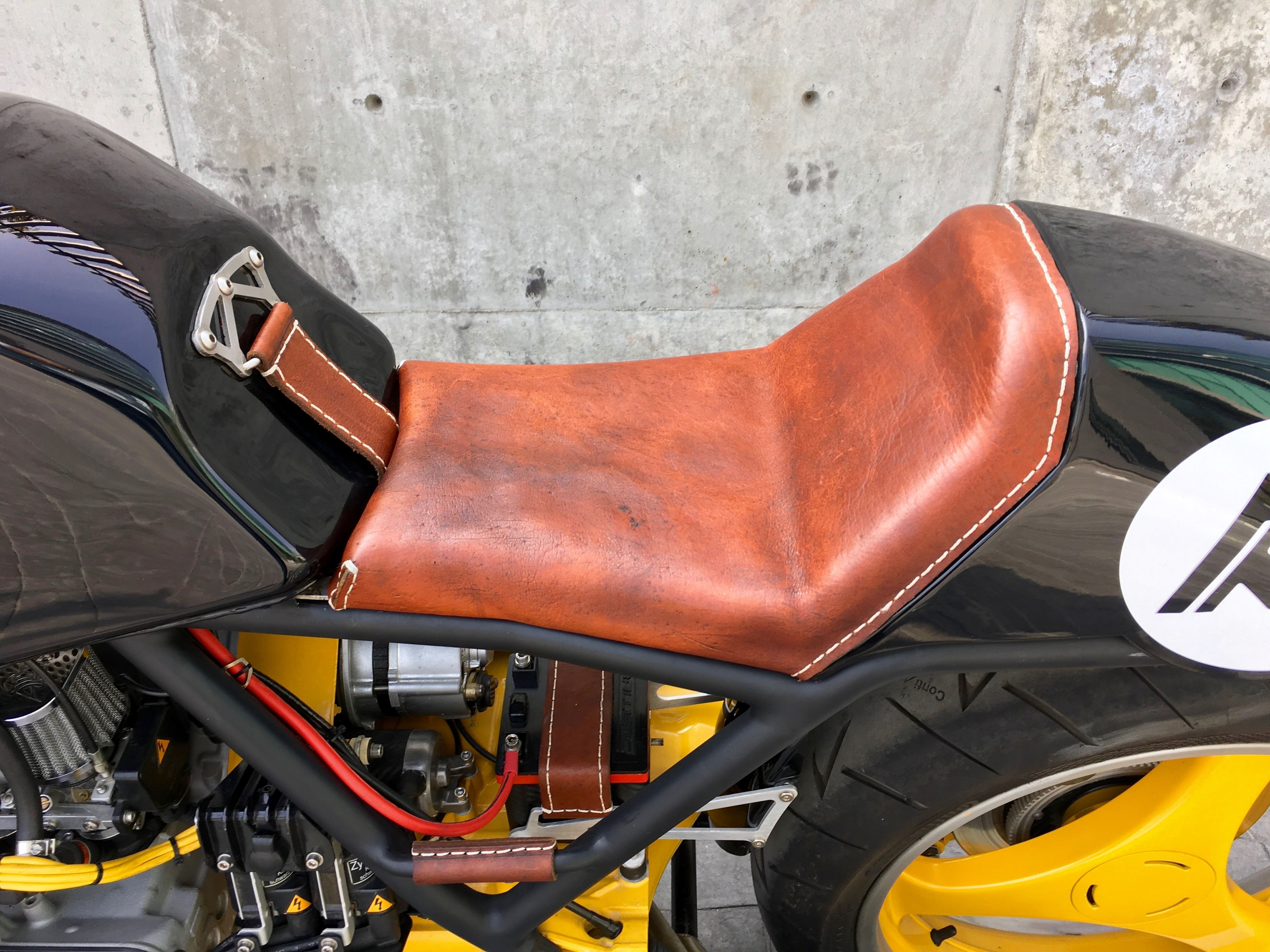 bmw k1 cafe racer,zweiger, hand made leather seat | bmw k1