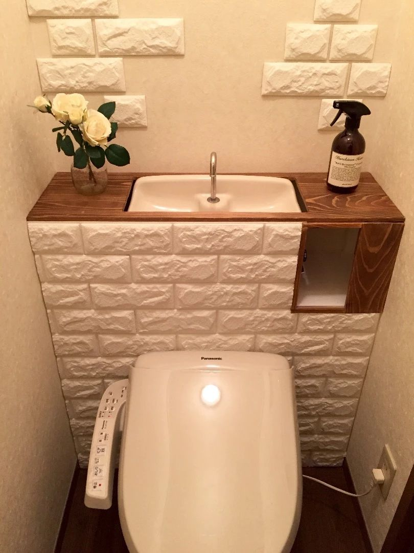 Diy 賃貸トイレをドリームクッションレンガでタンクレストイレ風にdiy