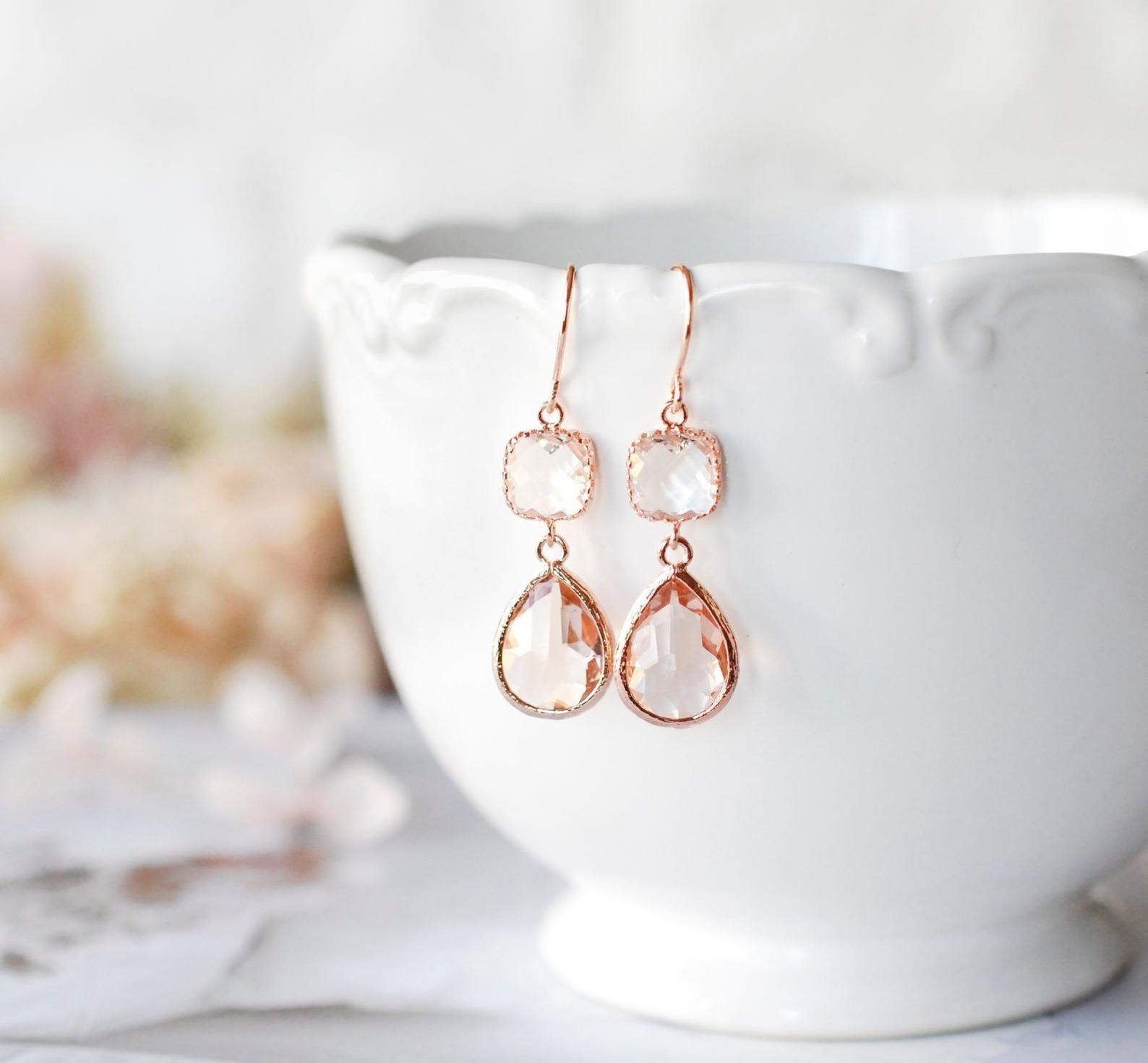 Rose Gold Earrings Peach Champagne Clear Crystal Earrings Etsy Clear Crystal Earrings Etsy Earrings Rose Gold Earrings