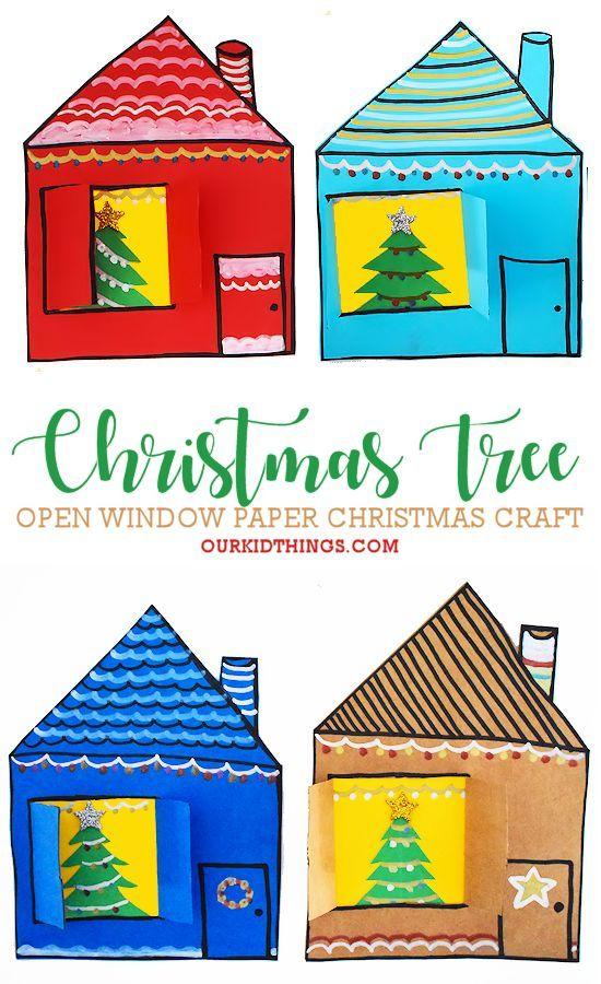 Open Window Christmas Tree Craft