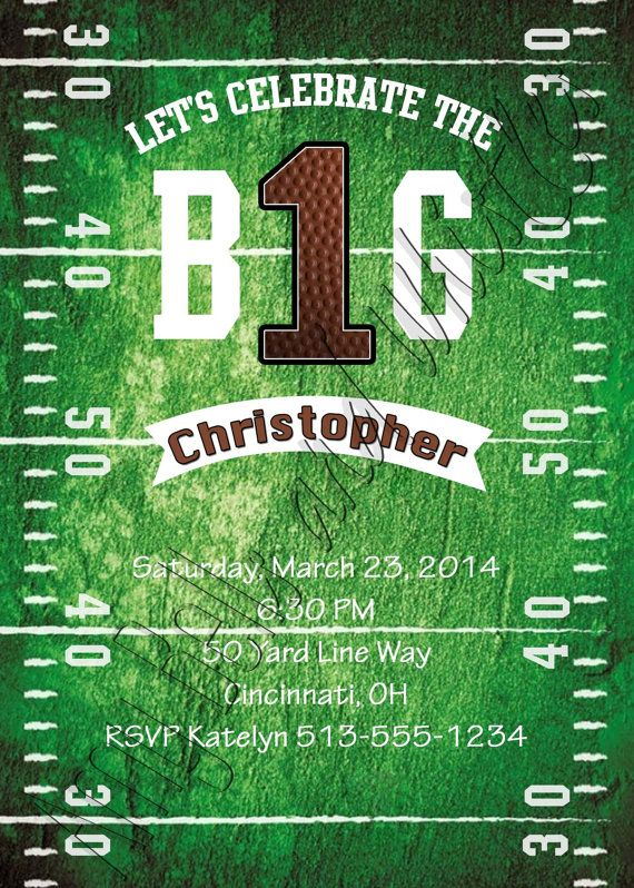 Football Theme First Birthday Invitation