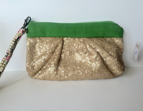 Gold sequin clutch Green clutch Spring by tangledshoebox on Etsy