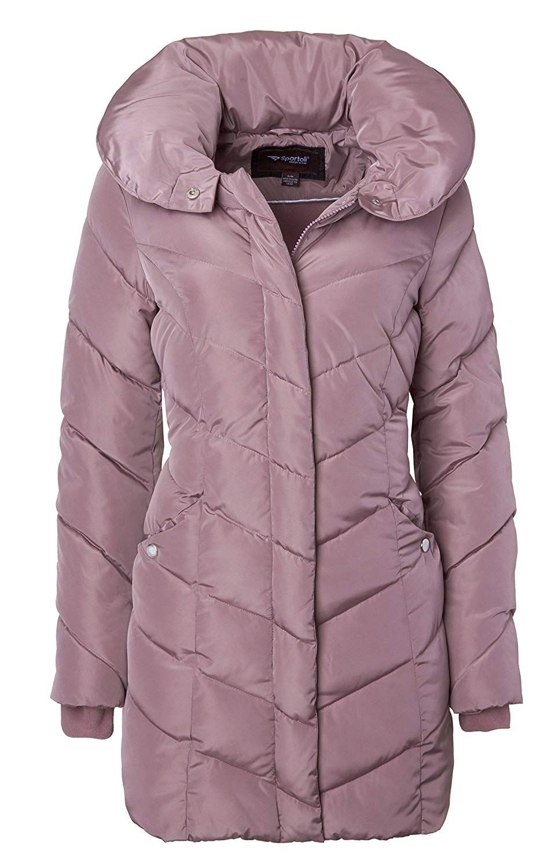 Amazon Com Sportoli Womens Winter Fleece Lined Chevron Quilted Puffer Jacket Coat With Hood Clothing Quilted Puffer Jacket Fashion Clothes Women Winter Women [ 1500 x 940 Pixel ]