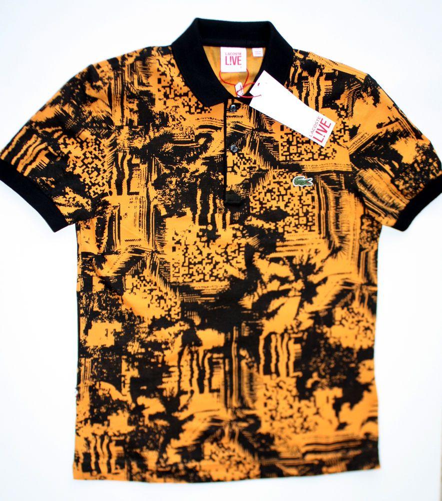 bc99f7cf Lacoste L!ve Polo Men's size 2 RARE PH3675 Orange & Black NEW with ...