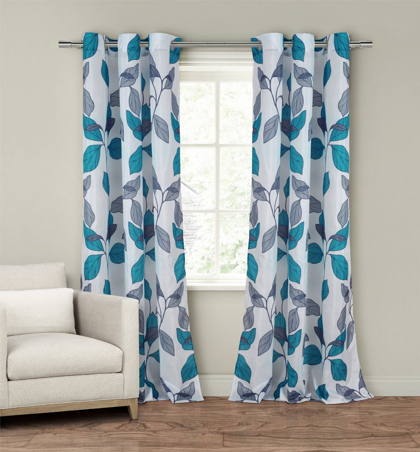 Teal and grey curtain panels - New Set 2 Window Curtains Panels Drapes Pair 84 Faux Silk Gray Grey Blue Floral In Home Garden Window Treatments Hardware Curtains Drapes Valances