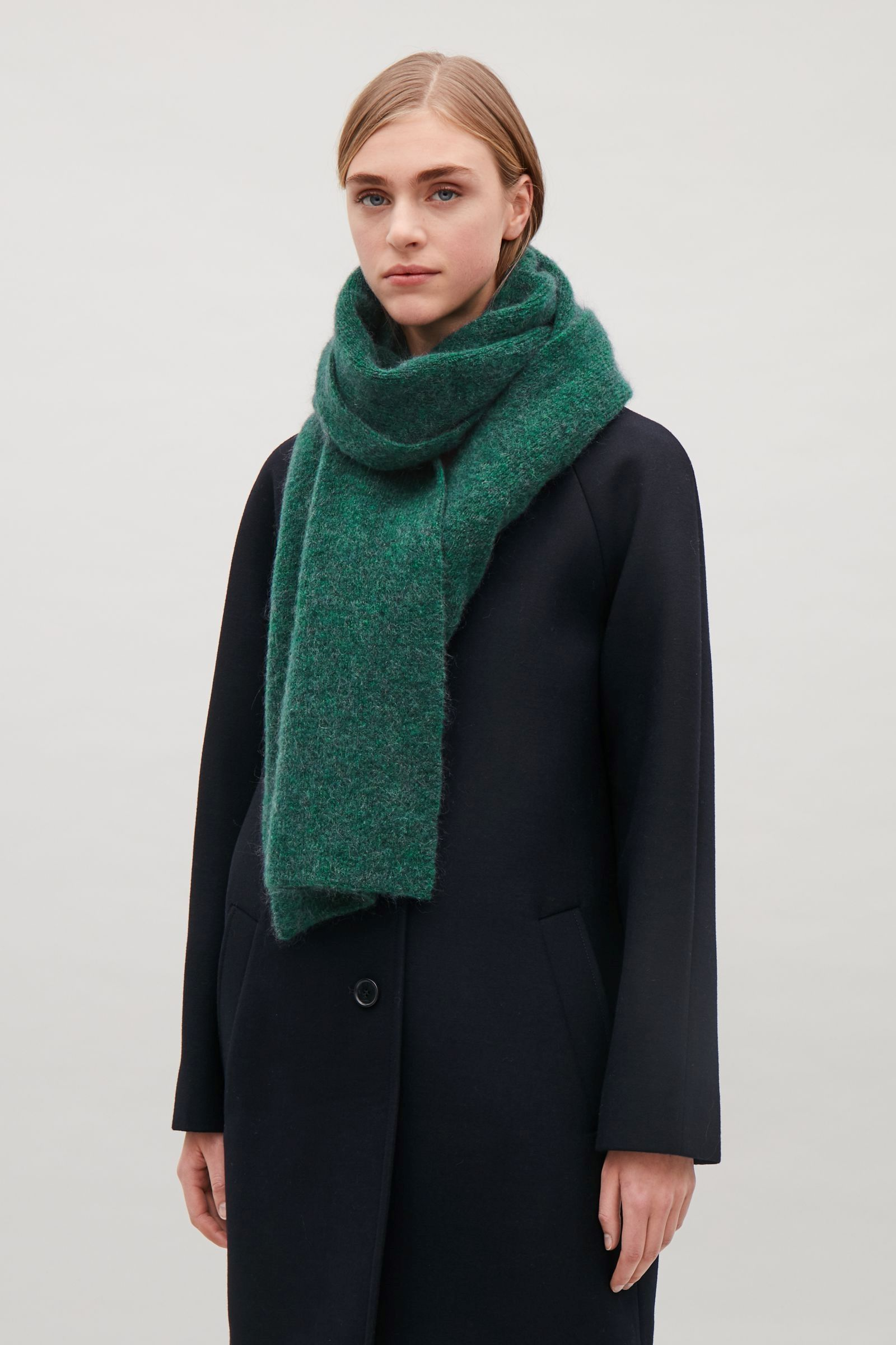Photo of COS image 3 of Cardigan-stitch mohair scarf in Green