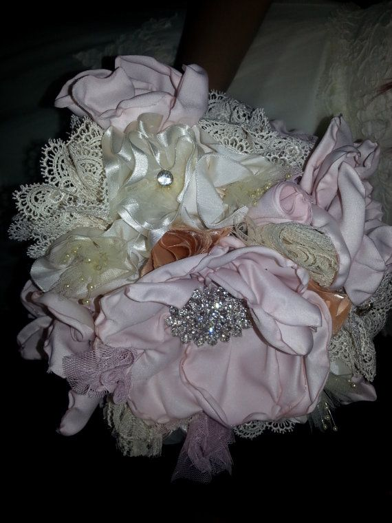 Fabric and Ribbon Wedding Bouquet in colors of by CindeeDesigns