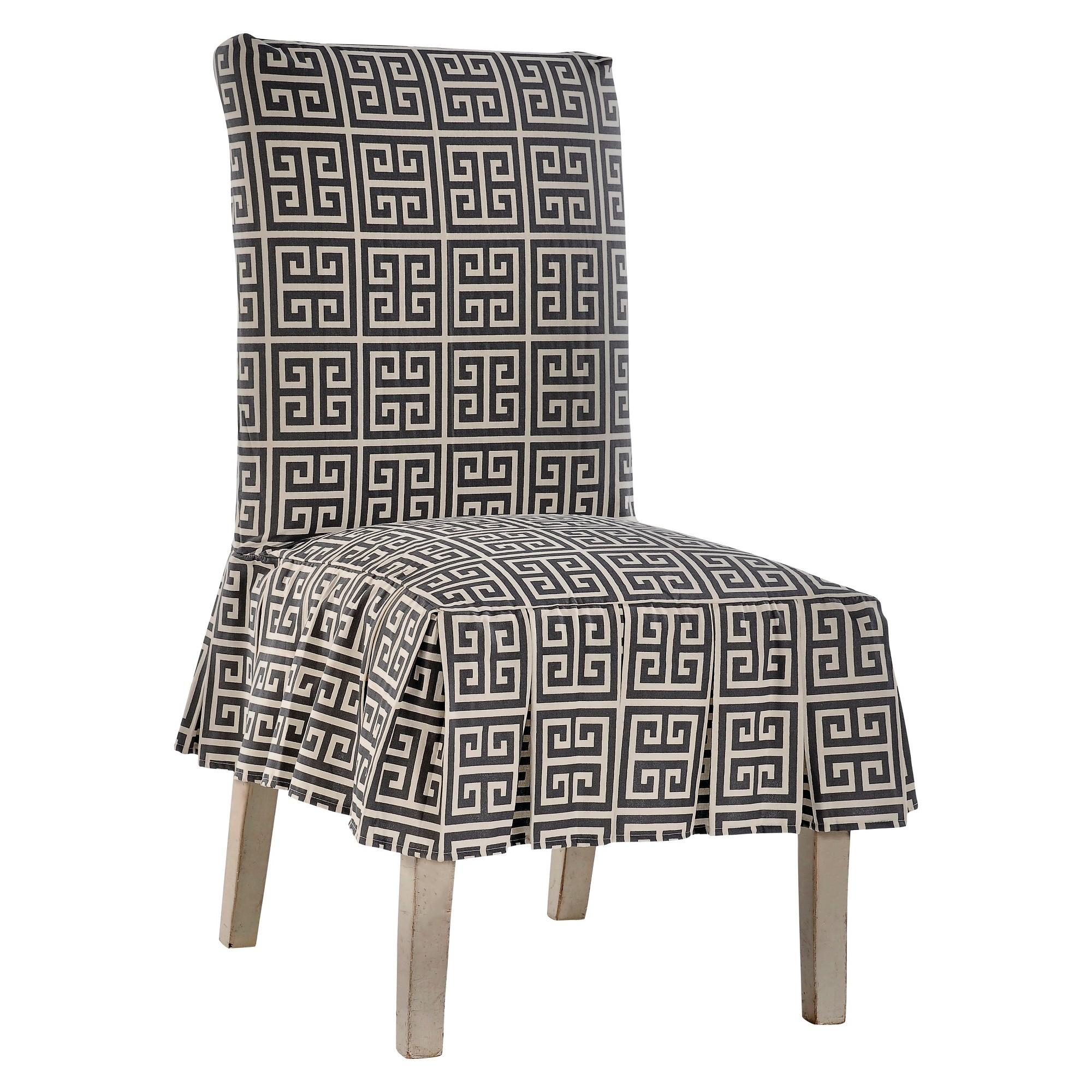 Gray Roman Key Dining Chair Slipcover Slipcovers for
