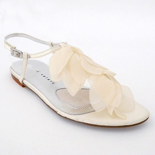 Flat Bridal Shoes On Sale Sandals Sonja Ivory Sandal With Organza Petals