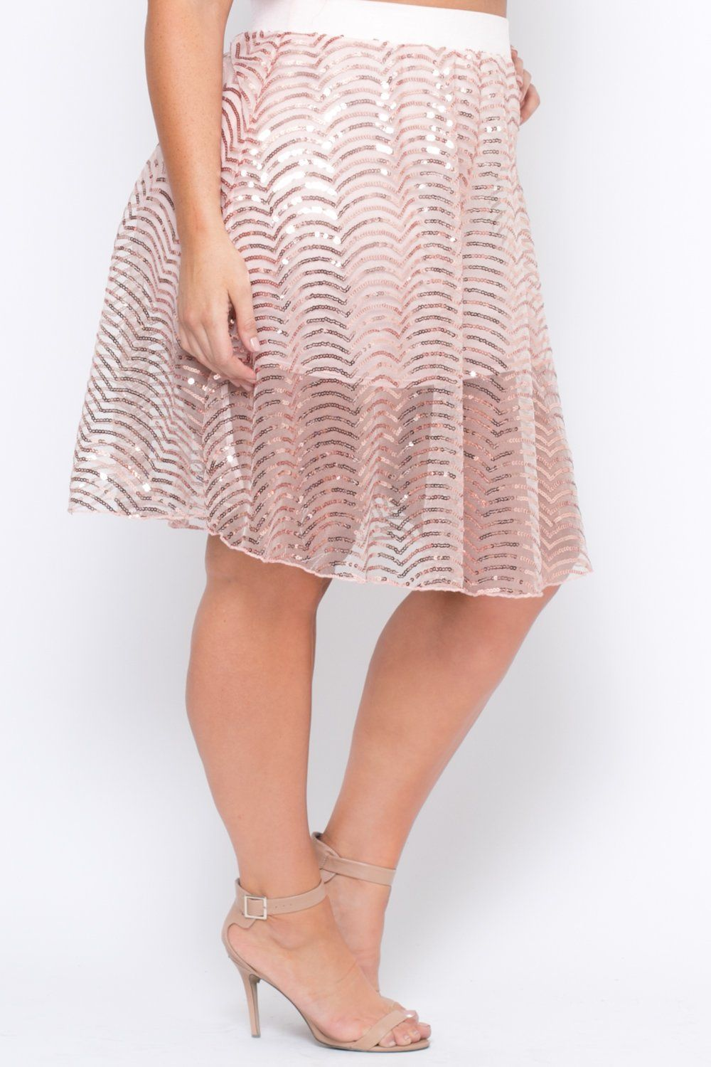 171a8f241c5 Plus Size Sequins Flared Skirt - Rose Gold