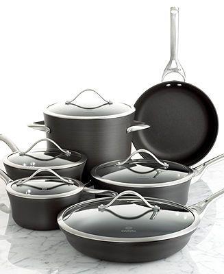 Calphalon Contemporary Nonstick Cookware 11 Piece Set Dishwasher Safe Cookware Sets Kitchen Macy Calphalon Cookware Calphalon Contemporary Cookware Set