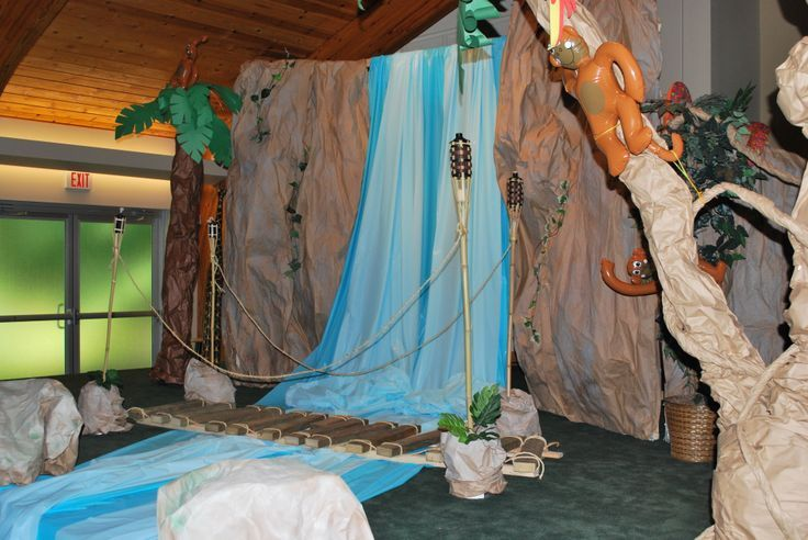 VBS Jungle Decorations Ideas | Rainforest / Jungle theme VBS - waterfall made from a wooden frame ...