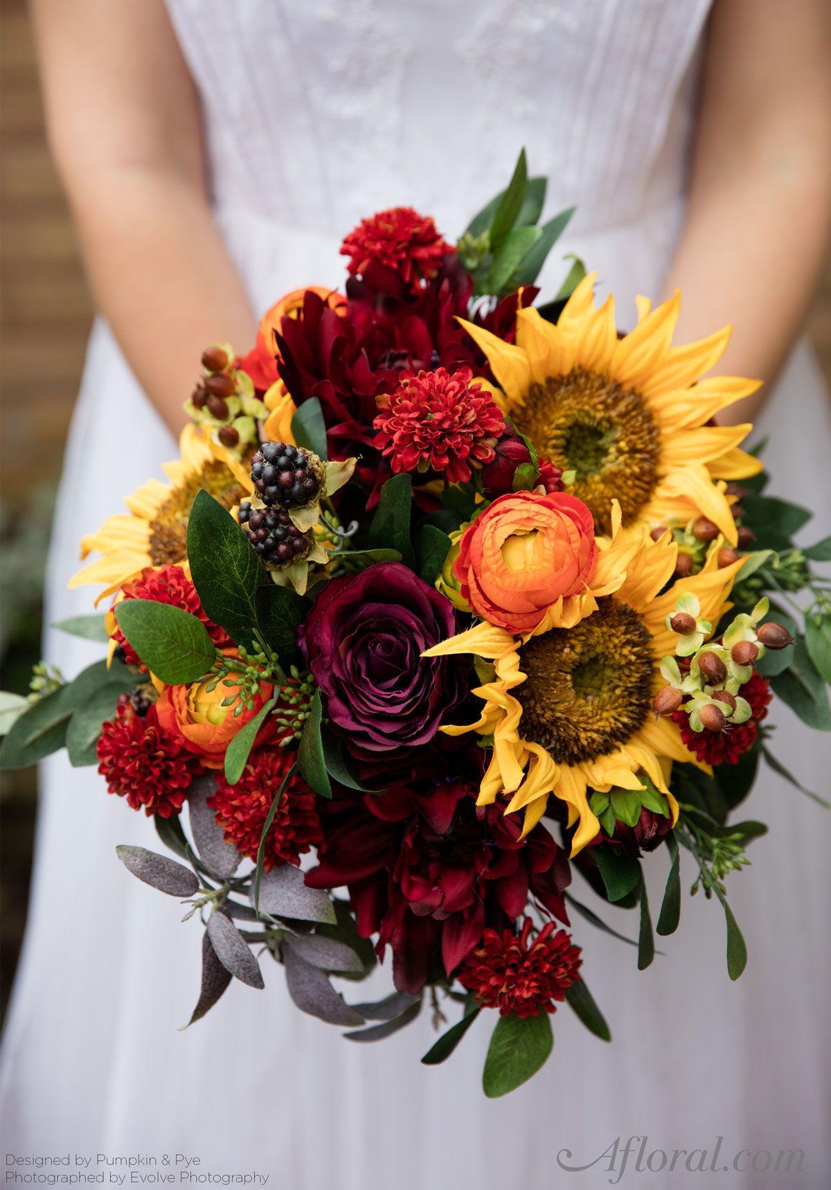 DIY Fall Sunflower Bouquet in 2020 Pumpkin wedding