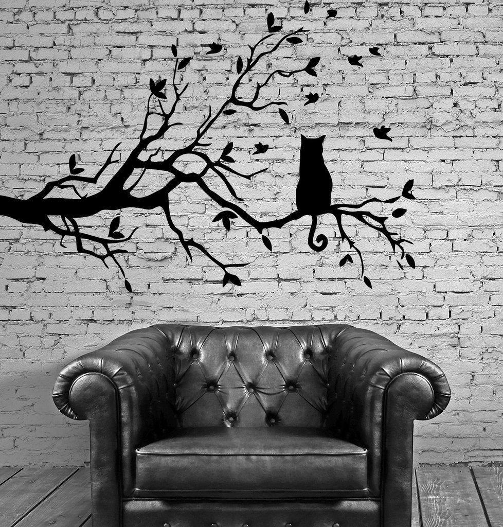 Cat and tree floral pet dream positive mural wall art decor vinyl