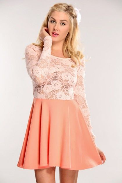 dresses-for-teenagers-with-sleevespeach-lace-long-sleeve-dress ...