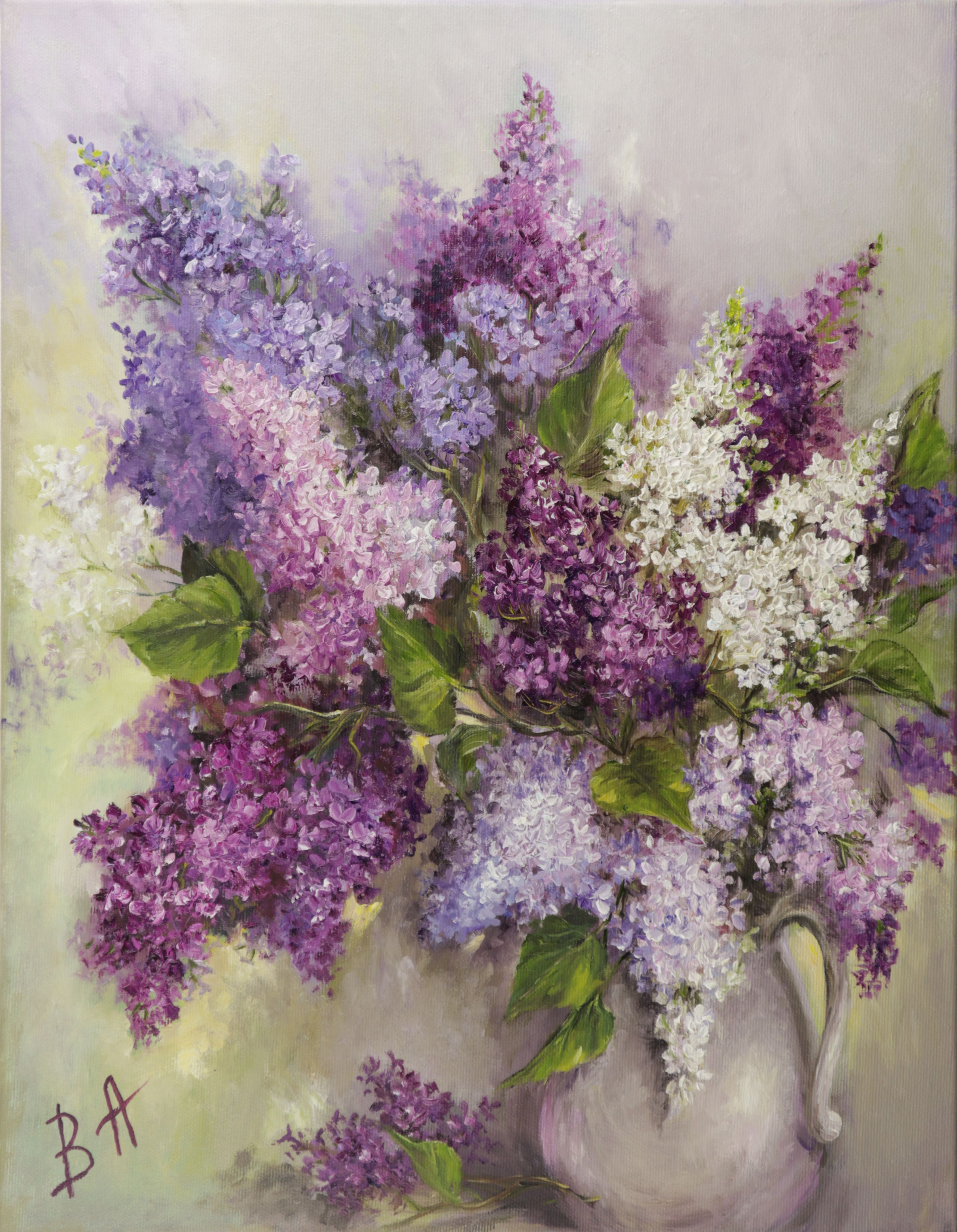 Still Life With Bouquet Of Lilacs In Vase Lilac Oil Painting Original Interior Oil Painting On Canvas With Floral Delicate Flowers Art In 2020 Oil Painting On Canvas Lilac Oils Flower Art