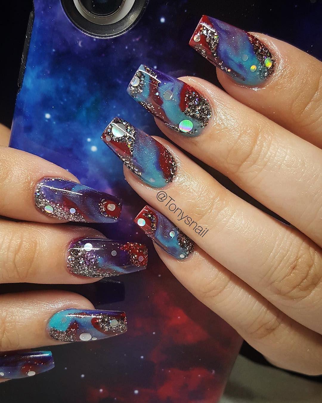 Galaxy nails design #galaxy #nailart #nails | Nail art | Pinterest ...
