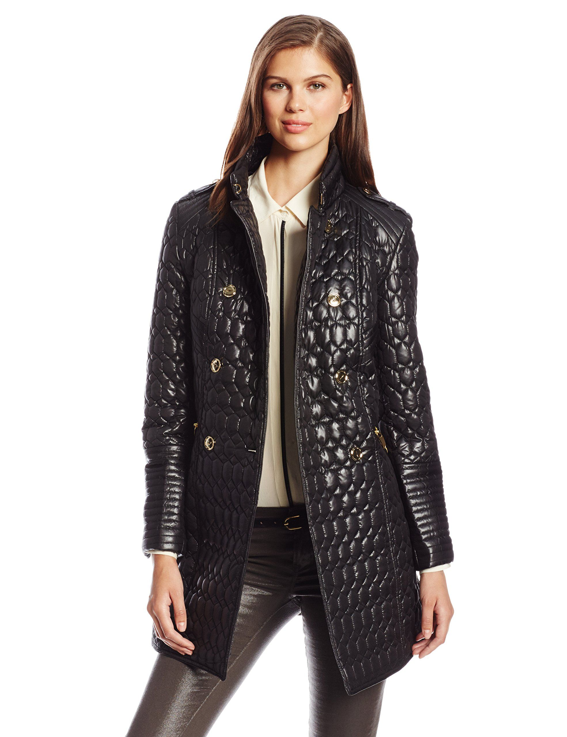 Via Spiga Womens Military Collar Lightweight Quilted Jacket