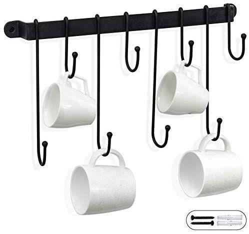 AJART Coffee Mug Rack Form Hand-Forged (17 inches/Black) Free and Highly Flexible for Mug Hooks