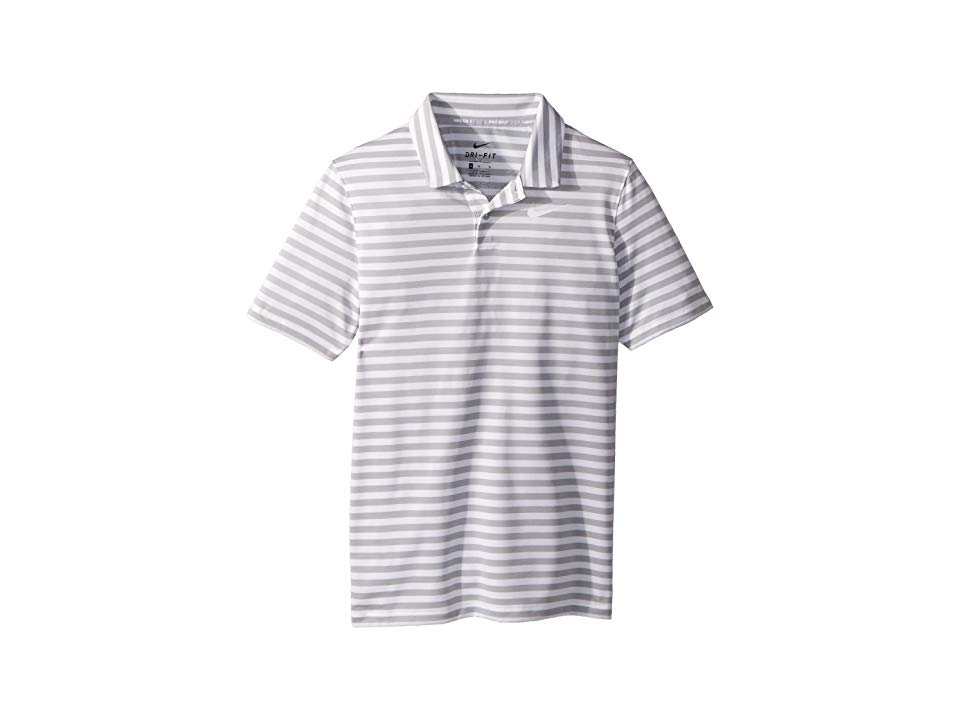f592b9c1 Nike Kids Dry Polo Victory Stripe (Little Kids/Big Kids) (Wolf Grey/White/ White) Boy's Clothing. Achieve the perfect round in the Nike Golf Kids Dry  Polo ...