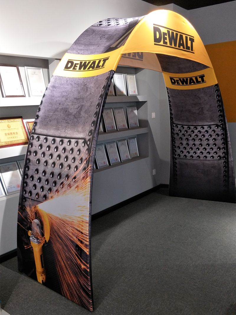 store front arch stand | Fabric display, Booth design, Display