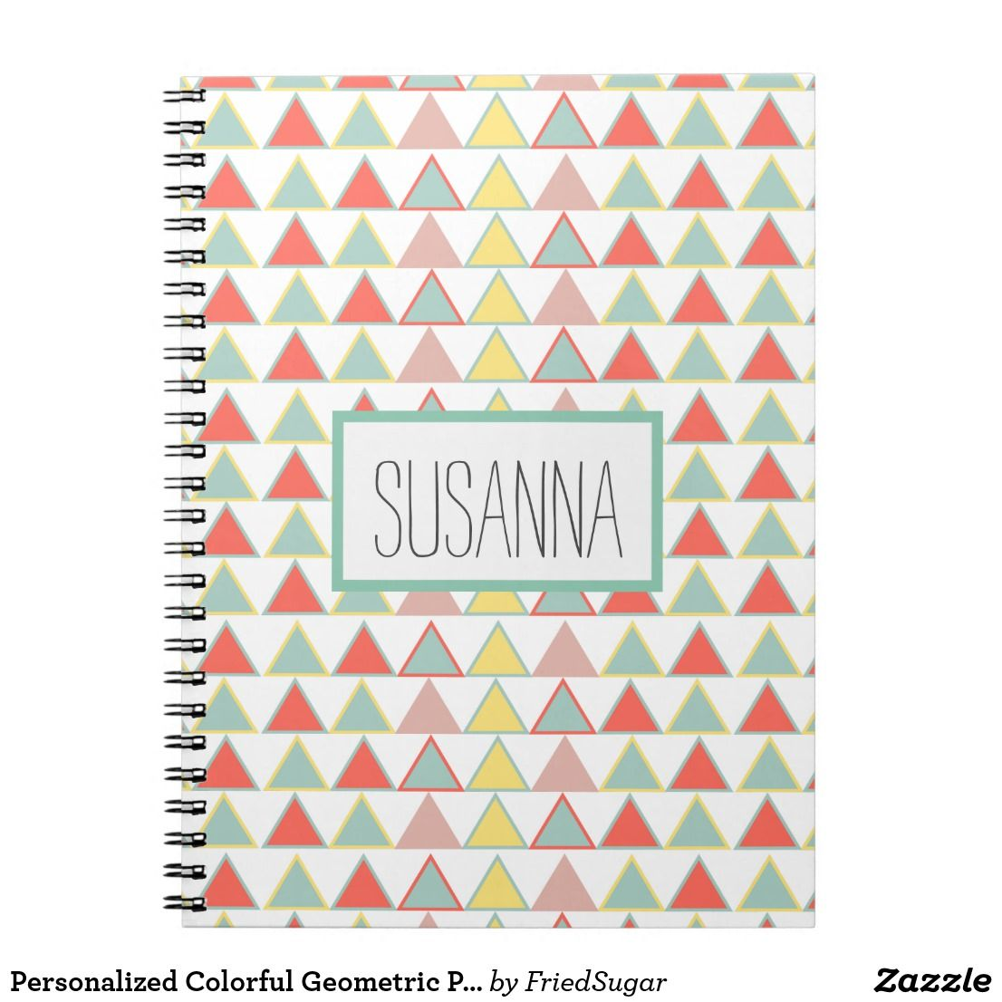 Personalized Colorful Geometric Print Notebook