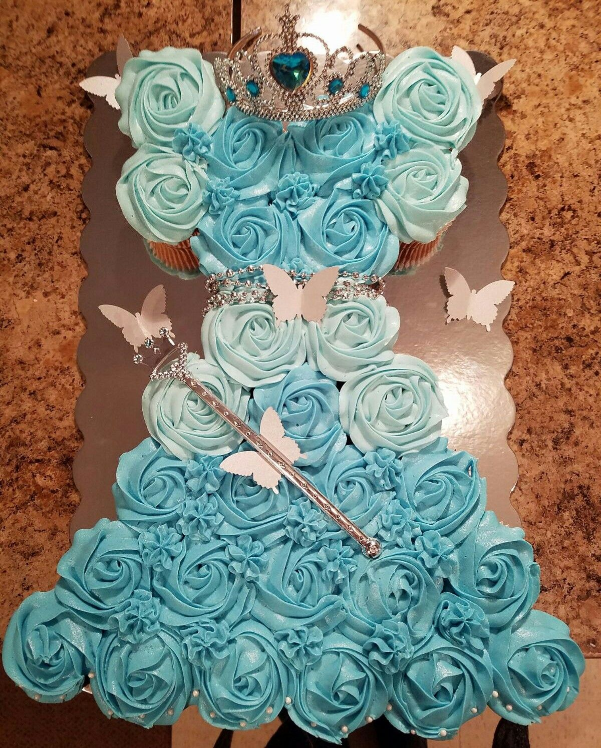 Phenomenal Cinderella Dress Pull Apart Cupcake Cake With Images Funny Birthday Cards Online Inifodamsfinfo
