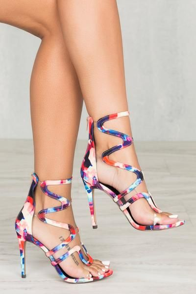8fb05c494813 Multi print heel with cut out detail. Fits true to size for most 4 inch heel